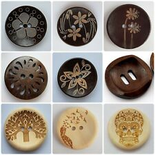 LUXURY LARGE WOODEN BUTTONS - 30mm, NATURAL, CARVED PATTERN, BROWN, LIGHT, UK