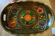Vintage Tray/Bowl Wood Hand Painted Tole Handle Red Purple Orange Flowers Mexico