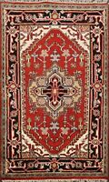 Traditional Heriz Serapi Geometric Oriental Area Rug Wool Hand-Knotted 3x4 ft