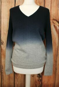 PURE Collection 100% Pure Cashmere Ladies Sweater Jumper Ombre Grey Blue UK 14
