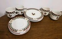 12-pc Betty Crocker Country Inn Rooster Stoneware Salad Plates, Cups & Saucers