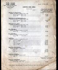 """Concessionnaire AUTOMOBILE CITROEN & CAMION """"PNEUS"""" Tarifs en 1954"""