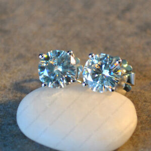 2.00 TCW Round Cut DEF VVS1 Moissanite Stud Earring Solid 14k White Gold Finish
