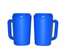 2 Large 20 Oz Blue Insulated Mugs Mfg. USA Lead Free No BPA Durable