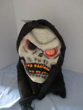 HOODED SKULL SKELETON FACE Halloween Mask w/ HOLOGRAPHIC EYE~Adult One Size~NWT