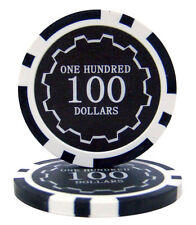25 Black $100 Eclipse 14g Clay Casino Poker Chips New - Buy 2, Get 1 Free