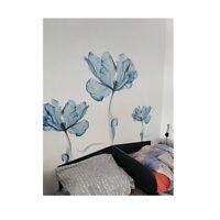 Wall Sticker 3d Blue Large Flower Decal Removable Modern Art Vinyl Home Decor