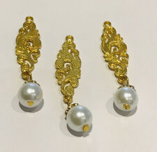 3 GOLD AND PEARL TASSELS BUTTONS/ ASIAN DRESS BUTTONS /GOLD Fancy Buttons