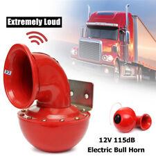 12V 115dB 175Hz Red Metal Car Truck Super Loud Bull Raging Sound Electric Horn