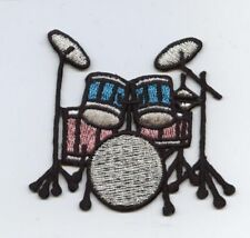 Drum Kit - Pink/Blue/Silver - Music Set - Iron on Applique/Embroidered Patch
