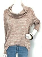 NWT Nordstrom Caslon Sweater Cowl Neck Tunic Top Lightweight Marbled Tan L & XL