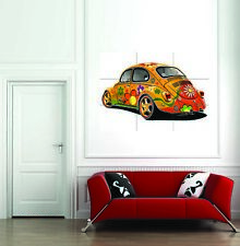 VW Beatle Hippy Cool Flower Bug Giant Poster Print