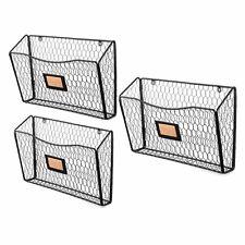 Wallniture Felic Wire Basket Wall File And Magazine Organizer Set Of 3 Black