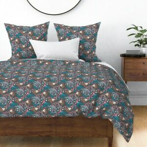 Sloth Wildlife Animal Animals Floral Flowers Sateen Duvet Cover by Roostery