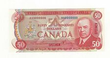 **1975**Canadian $50 Dollar Note BC-51aS, Law/Bou SN# HA 0000000 Spec Note #339