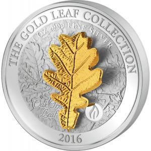 """Samoa 2016 5$ Gold Leaf Collection 3D Oak Leaf 1 Oz Silver Proof Coin """"6"""""""