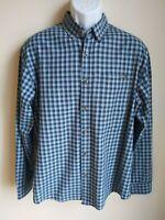 Eddie Bauer blue plaid long sleeve lightweight cotton shirt mens L