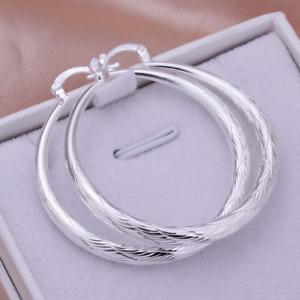Elegante Kreolen Creolen Ohrringe groß rund Form 925 Sterling Silber beschichtet