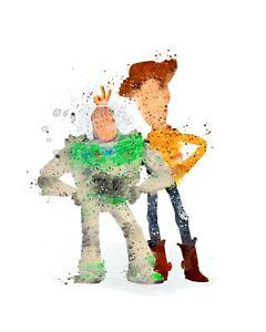 Toy Story Buzz Lightyear Woody A3 Digital Watercolour Splash Effect Poster Print