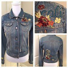Hollister Womens Jean Jacket Medium Blue Cali Embroidered Distressed Denim