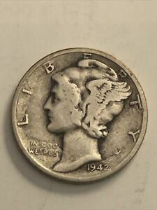 Good Condition 1942 No Mint Mark Silver Mercury Dime Near Mint