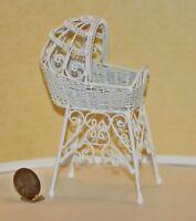 Dollhouse Miniature White Wire Victorian Bassinet