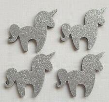 Handmade Set of 4 Wooden Unicorn Fridge Magnets Sparkly Silver Glitter Print