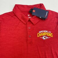 NWT Fanatics Chiefs Polo Shirt Mens Medium Red Short Sleeve Super Bowl Champions