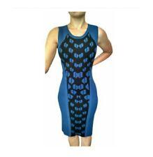 $365 DVF Diane von Furstenberg FRANCA Blue Stretch Body Con Pemcil Dress M 6 8
