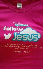 JESUS Twitter Follow Jesus~New~ Pink Christian Tee Shirt size XL Last one