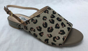 BNIB Clarks Ladies Sarafina Honey Grey Leopard Pint Pony Hair Leather Sandals