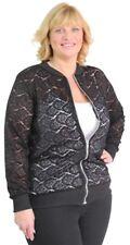 Ladies Plus Size Womens Lightweight Floral Lace Curve Black Bomber Jacket 14-28