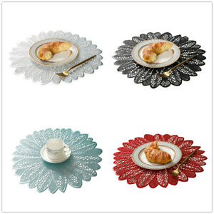 Set of 4 Round Safety PVC Placemats Dinner Party Table Mats Floral Doliy 15""