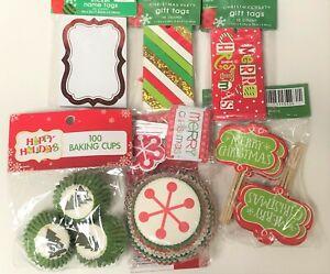 Holiday Christmas Cupcakes Liners, Christmas Tree Mini cups, Picks & Gift tags