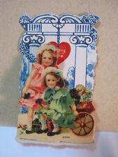 To My Love Antique Fold Out Valentine Two Little Girls & Cart Germany  T*
