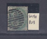 GB QV 1873 1/- Green SG50 Plate 13 VFU J3280