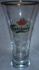 Carlsberg tall beer glass gold rim flutted rare glass Made in Belgium by Rastal