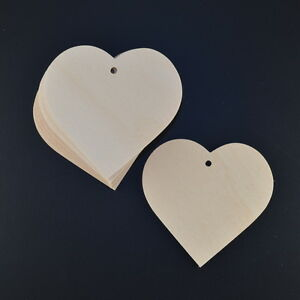 WOODEN LOVE HEARTS 65 mm CRAFT SHAPES 5 OR 10 VALENTINES/BUNTINGS/WEDDING TAGS