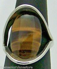 LOVELY UNIQUE ESTATE TIGER'S EYE COMPRESSION SETTING STERLING SILVER RING SZ 5