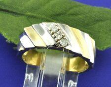 18k 2 Tone Gold 0.08 CT Mens Band Diamond Ring   7.3 Grams made in USA