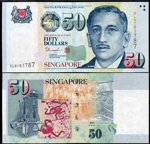 SINGAPORE 50 DOLLARS 2018 / 2019 W/ 3 STAR AT BACK P 49 UNC