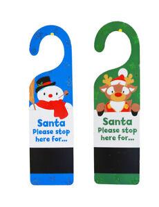Christmas Decorations 34cm Santa Stop Here Door Hanger Chalkboard