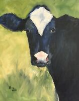 Norma Wilson Original Oil Cow Cattle Bovine Impressionism Painting Art