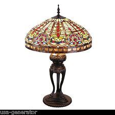 """Table Lamp 3 Light Stained Cut Glass Tiffany Vintage Style Metal Base 22""""Wx 35""""H"""