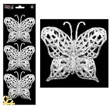 Christmas - 3 Pack Wire on Glitter Butterfly Tree Decorations (DP) - Silver