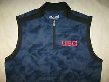 Team USA Adidas Golf Vest Shirt Pullover Men's Large Navy Blue Camo Sleeveless