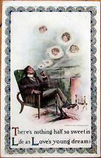 1907 Smoking Postcard: Man, Fireplace, Blowing Smoke Rings w/Women's Faces