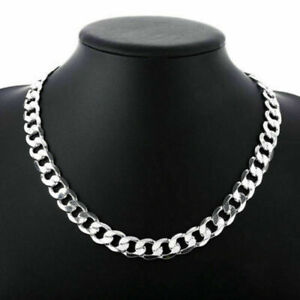 """8mm 20"""" Silver Mens Curb Chain Necklace Sterling 925 Silver Womens Unisex Chain"""