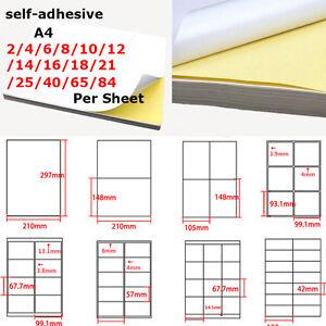 A4 Matte Self-adhesive Paper 1~84 Label Per Page Inkjet Laser Sticker Print Lot