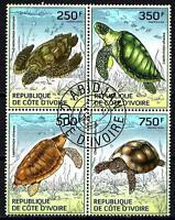 Animales Tortugas Lado d'Marfil (171) serie completo 4 sellos matasellados
